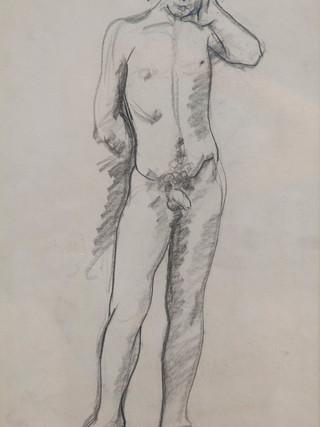 """Antonio Campillo Párraga (Murcia, 1926 – 2009) """"Desnudo masculino de frente"""". 1969. Grafito sobre papel. 43x27 cms."""