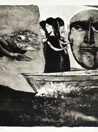 """""""Los amigos de Poseidón"""" 1963. Litografía 38 x 52 cm (huella)"""