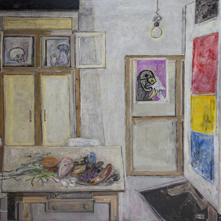 """El taller"" 1975. Óleo sobre lienzo 200x200 cms."