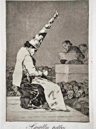 """""""Aquellos polvos"""" Grabado 23 de la serie Los Caprichos 1799. Décima edición (1918) Aguafuerte y aguatinta 22 x 15,3 cms. (huella)"""