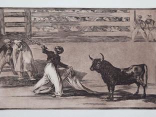 """""""Origen de los """". Serie La Tauromaquia. 1815 - 1816. Tirada de 1983, Calcografía Nacional.  Aguafuerte. y aguatinta. Huella 24x35 cms."""