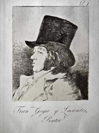 Francisco  Goya y Lucientes, Pintor. Grabado 1 de la serie Los Caprichos 1799. Décima edición (1918) Aguafuerte y aguatinta 22 x 15,3 cms. (huella)