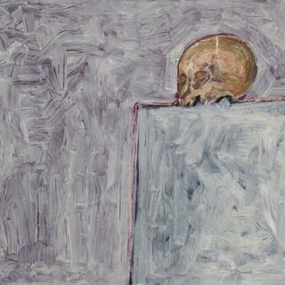 """Cráneo en mesa blanca"" 1991. Óleo sobre lienzo 70x100 cms."