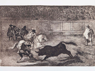 """Caballero español quebrado re"". Serie La Tauromaquia. 1815 - 1816. Tirada de 1983, Calcografía Nacional.  Aguafuerte. y aguatinta. Huella 24x35 cms."