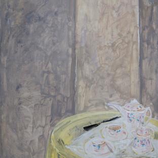 """Juego de te sobre mantel amarillo"" 1989. Óleo sobre lienzo 130x97 cms."