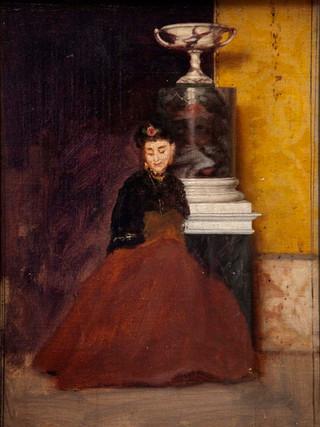 """ALEJO VERA ESTACA Viñuelas, 1834 - Madrid, 1923) """"Estudio de mujer"""" Hacia 1870. Óleo sobre lienzo. 22x15 cms."""