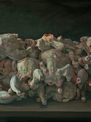 Montón de pollos desplumados