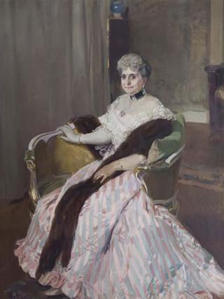 """JOAQUÍN SOROLLA Y BASTIDA (Valencia 1863 - Cercedilla 1923) """"Retrato de Carmen Avial Y Llorens, condesa de Albox"""" 1905. Óleo sobre tela. 180 X 130 cms"""