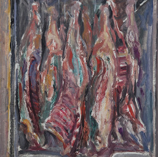 """Carro de la carne"" 1996. Óleo sobre lienzo 59x50 cms."