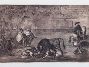 """""""Perro al toro"""". Serie La Tauromaquia. 1815 - 1816. Tirada de 1983, Calcografía Nacional.  Aguafuerte. y aguatinta. Huella 24x35 cms."""