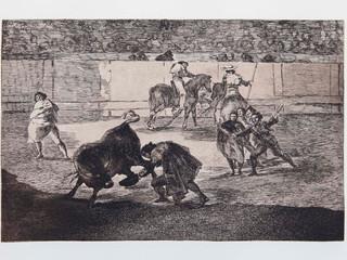 """""""Pepe Illo haciendo el rec"""". Serie La Tauromaquia. 1815 - 1816. Tirada de 1983, Calcografía Nacional.  Aguafuerte. y aguatinta. Huella 25x35 cms."""
