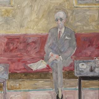 """Cristino Mayo en el Gijón"" 1984. Óleo sobre lienzo 61x40 cms."