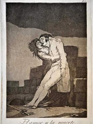 """""""El amor y la muerte"""" Grabado 10 de la serie Los Caprichos 1799. Décima edición (1918) Aguafuerte y aguatinta 22 x 15,3 cms. (huella)"""