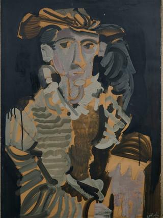 "Álvaro Delgado Ramos (Madrid, 1922 - 2016) ""Personaje renacentista"". 1968. Óleo sobre papel pegado a lienzo. 71x50 cms."