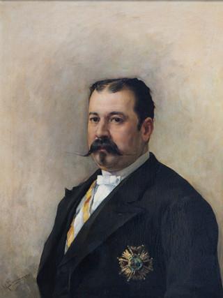 """MANUEL DOMÍNGUEZ SÁNCHEZ (Madrid, 1840-Cuenca, 1906). """"Retrato de caballero"""" . Hacia 1880. Óleo sobre lienzo. 73x60 cms"""