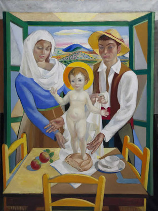 "Jesús de Perceval (Almería, 1915 – 1985) ""Sagrada familia"". 1955. Óleo sobre tela. 140x100 cms."