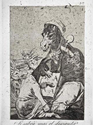 """""""¿Si sabrá más el discípulo?"""" Grabado 37 de la serie Los Caprichos 1799. Décima edición (1918) Aguafuerte y aguatinta 22 x 15,3 cms. (huella)"""