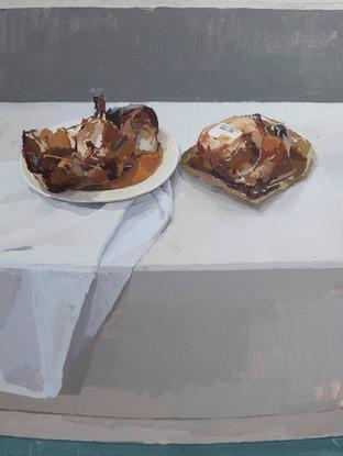 ANTONIO LARA LUQUE (Jerez de la Frontera,1985) Bodegón con pollo asado. Oleo sobre lienzo. 73x60 cms.