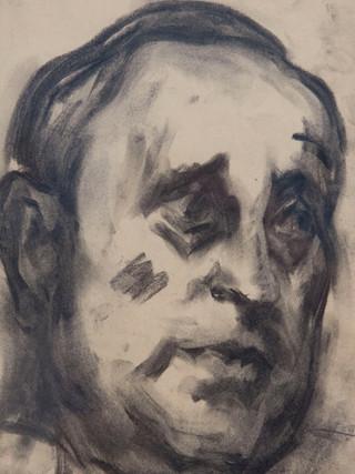 """Antonio Campillo Párraga (Murcia, 1926 – 2009) """"Cabeza de hombre"""". 1969. Carbón sobre papel. 35x23 cms."""