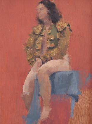 "ANIKA LLAVERO TALSI (Málaga,1985)""Desnudo con torera"" (2012) Óleo sobre tabla, 19x13 cms."
