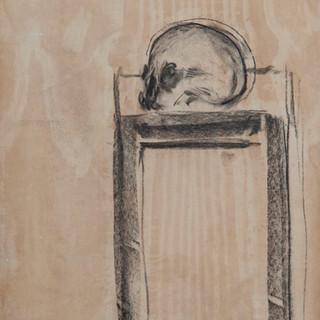 """""""Cráneo sobre taburete"""" 1975. Carbón sobre tabla 56x43 cms."""