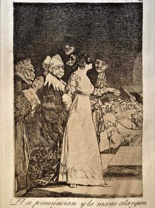 """""""El sí pronuncian y la mano alargan al primero que llega"""" Grabado 2 de la serie Los Caprichos 1799. Décima edición (1918) Aguafuerte y aguatinta 22 x 15,3 cms. (huella)"""