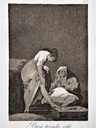 """""""Bien tirada está"""" Grabado 17 de la serie Los Caprichos 1799. Décima edición (1918) Aguafuerte y aguatinta 22 x 15,3 cms. (huella)"""