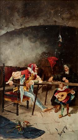 LUQUE Jugadores circa 1900 oleo-tabla