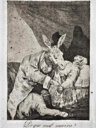 """""""¿De qué mal morirá?"""" Grabado 40 de la serie Los Caprichos 1799. Décima edición (1918) Aguafuerte y aguatinta 22 x 15,3 cms. (huella)"""