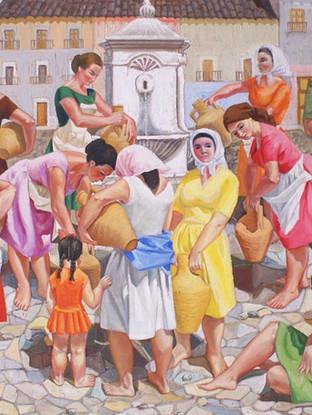 """Carmen Pinteño (Huércal-Overa, 1937) """"Personajes en una fuente"""".Hacia 1971. Óleo sobre tablex, 142x181 cms."""