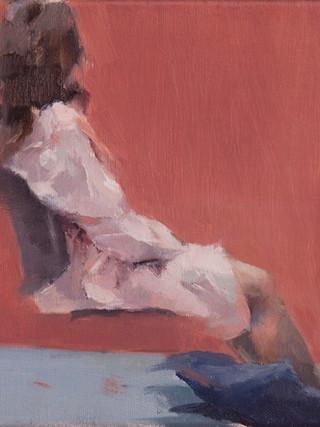 """SUSANA RAGEL NIETO (Madrid,1981)""""Figura. Apunte"""" (2012) Óleo sobre lienzo, 22x27 cms."""