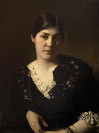 """RICARDO DE MADRAZO Y GARRETA (Madrid, 1851 – 1917) """"Dama desconocida"""" (hacia 1870). Óleo sobre tela, 66x49 cms."""