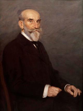 "LUIS MENÉNDEZ PIDAL (Pajares, 1861-Madrid, 1932) ""Retrato de caballero"". Hacia 1900. Óleo sobre tela. 100X75 cms."
