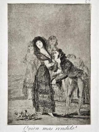 """""""¿Quien más rendido?"""" Grabado 27 de la serie Los Caprichos 1799. Décima edición (1918) Aguafuerte y aguatinta 22 x 15,3 cms. (huella)"""
