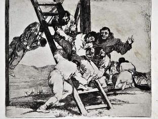 """""""Duro es el paso"""". Grabado 14 de la serie Lo desastres de la guerra 1810 - 1815. Primera edición (1863) Aguafuerte. Huella 15x20 cm"""
