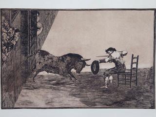 """""""Temeridad de Martincho en la plaza de Za"""". Serie La Tauromaquia. 1815 - 1816. Tirada de 1983, Calcografía Nacional.  Aguafuerte. y aguatinta. Huella 25x35 cms."""