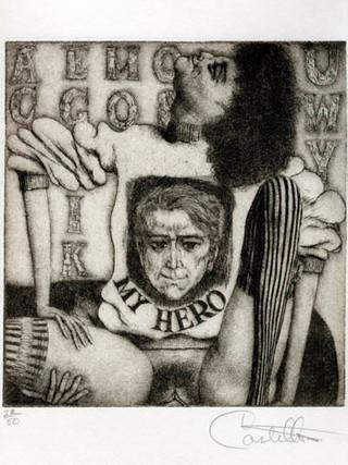 """""""Alfabeto Erótico. Autorretrato"""" 1969-1971. Aguafuerte y aguatinta 14 x 12 cm (huella)"""