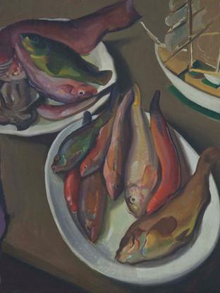 Roberto Fernández Balbuena (Madrid, 1890 – Méjico, 1966). Bodegón con pescado. Hacia 1930. Óleo sobre lienzo. 65x81 cms.