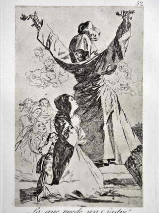 """""""¡Lo qué puede un sastre!"""" Grabado 52 de la serie Los Caprichos 1799. Décima edición (1918) Aguafuerte y aguatinta 22 x 15,3 cms. (huella)"""
