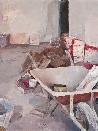 """FRANCISCO LAFARGA (Zaragoza, 1977) """"Trastos"""". 2009. Óleo sobre lienzo. 98X110 cms"""