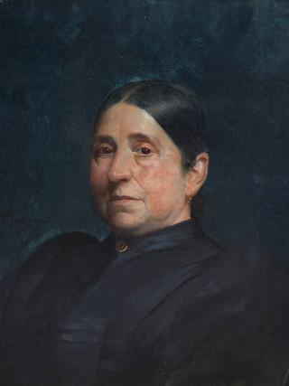 """DIONISIO FIERROS (Cudillero, 1827 - Madrid, 1894) """"Retrato de señora"""" (Siglo XIX) Óleo sobre lienzo. 60x50 cms."""