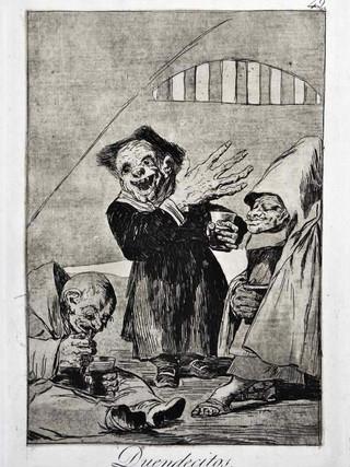 """""""Duendecitos"""" Grabado 49 de la serie Los Caprichos 1799. Décima edición (1918) Aguafuerte y aguatinta 22 x 15,3 cms. (huella)"""