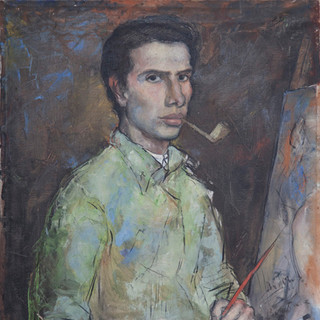 """Autorretrato con pipa"" 1947. Óleo sobre lienzo 75x57,5 cms."