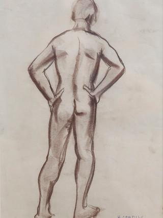 """Antonio Campillo Párraga (Murcia, 1926 – 2009) """"Desnudo masculino de espaldas"""". 1975. Sanguina sobre papel. 43x31 cms."""