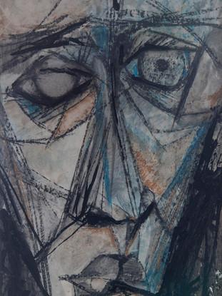 """Jesús de Haro Martínez (Huércal-Overa, 1949) """"Cabeza"""".Hacia 1970. Carbón, pastel y guoache sobre cartulina, 68x46 cm."""