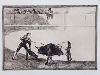 """Pedro Romero "". Serie La Tauromaquia. 1815 - 1816. Tirada de 1983, Calcografía Nacional.  Aguafuerte. y aguatinta. Huella 25x35 cms."