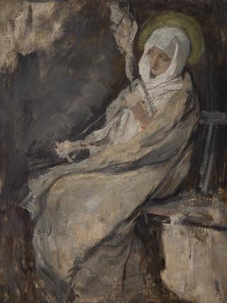 """VICENTE PALMAROLI GONZÁLEZ (Madrid, 1834 - 1896) """"La Virgen María hilando"""" (boceto) (HACIA 1870) Óleo sobre tabla. 33x26 cms."""