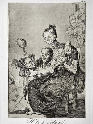"""""""Hilan delgado"""" Grabado 44 de la serie Los Caprichos 1799. Décima edición (1918) Aguafuerte y aguatinta 22 x 15,3 cms. (huella)"""