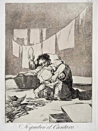 """""""Si quebró el cántaro"""" Grabado 25 de la serie Los Caprichos 1799. Décima edición (1918) Aguafuerte y aguatinta 22 x 15,3 cms. (huella)"""