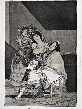 """""""Le descañona"""" Grabado 35 de la serie Los Caprichos 1799. Décima edición (1918) Aguafuerte y aguatinta 22 x 15,3 cms. (huella)"""